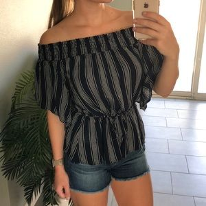 Off shoulder navy and white stripe top